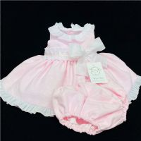 * Baby Girl Spanish Pink Big Bow Puff Dress with Pants Set